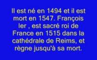 la leçon d'histoire françois 1er