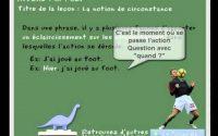 cours et leçon de francais CP, CE1, FLE - la notion de circonstance