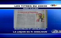 CRTV - JOURNAL DE 20H30 - (MUNICIPALES et LÉGISLATIVES : La LEÇON du Pr Luc SINDJOUN) - 10 Mars 2020