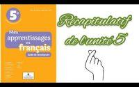 Leçon de français : récapitulatif des leçons de langue de l'unité 5.