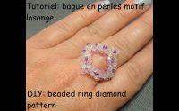 Tutoriel: bague en perle motif losange (DIY: beaded ring diamond pattern)