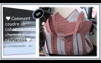 Coudre un cabas avec 2 chemises recyclées - Tutoriel couture Anna - Sew a bag with 2 shirts