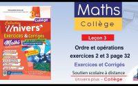 Univers Plus Maths 3AC - Leçon 3 : exercices 2 et 3 page 32 - exercices et corrigés