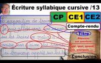 Cours leçon de français : bien écrire un compte-rendu en cp ce1 et ce2 # 13