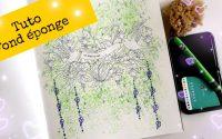 Tutoriel fond éponge. Aquarelle et néocolor 2. Coloriage pour adulte.