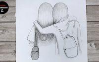 Comment dessiner deux Meilleurs amies | Tutoriel de dessin
