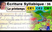 Cours leçon français : Écrire un texte sur le printemps en ce1 ce2 cm1 # 36