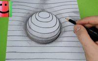 Tutoriel de dessin d'une sphère en 3D avec des lignes. Apprendre les bases du dessin.