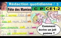Leçon sur le verbe : Rédaction poème fête des mamies en cp ce1 ce2  dys # 3