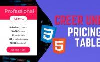 Créer une Pricing Table | Tutoriel HTML CSS - Tableau de Prix
