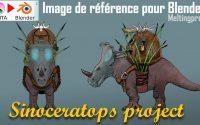 Sinoceratops concept et image référence - Projet sinoceratops - tutoriel Blender 2.9 en Français.