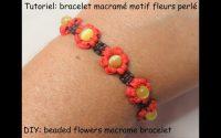 Tutoriel: bracelet macramé motif fleurs perlé (DIY: beaded flowers macrame bracelet)