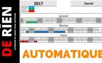 aperçu d'absence personnelle automatique | Tutoriel Excel - DE RIEN