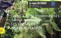 Leçon 3 : Sabbat après-midi 10 Juillet 2021, Les causes de notre agitation