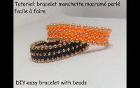 Tutoriel: bracelet manchette macramé perlé facile à faire(DIY: beaded macrame bracelet easy to make)