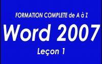 WORD 2007 FORMATION COMPLETE DE A à Z Leçon 1